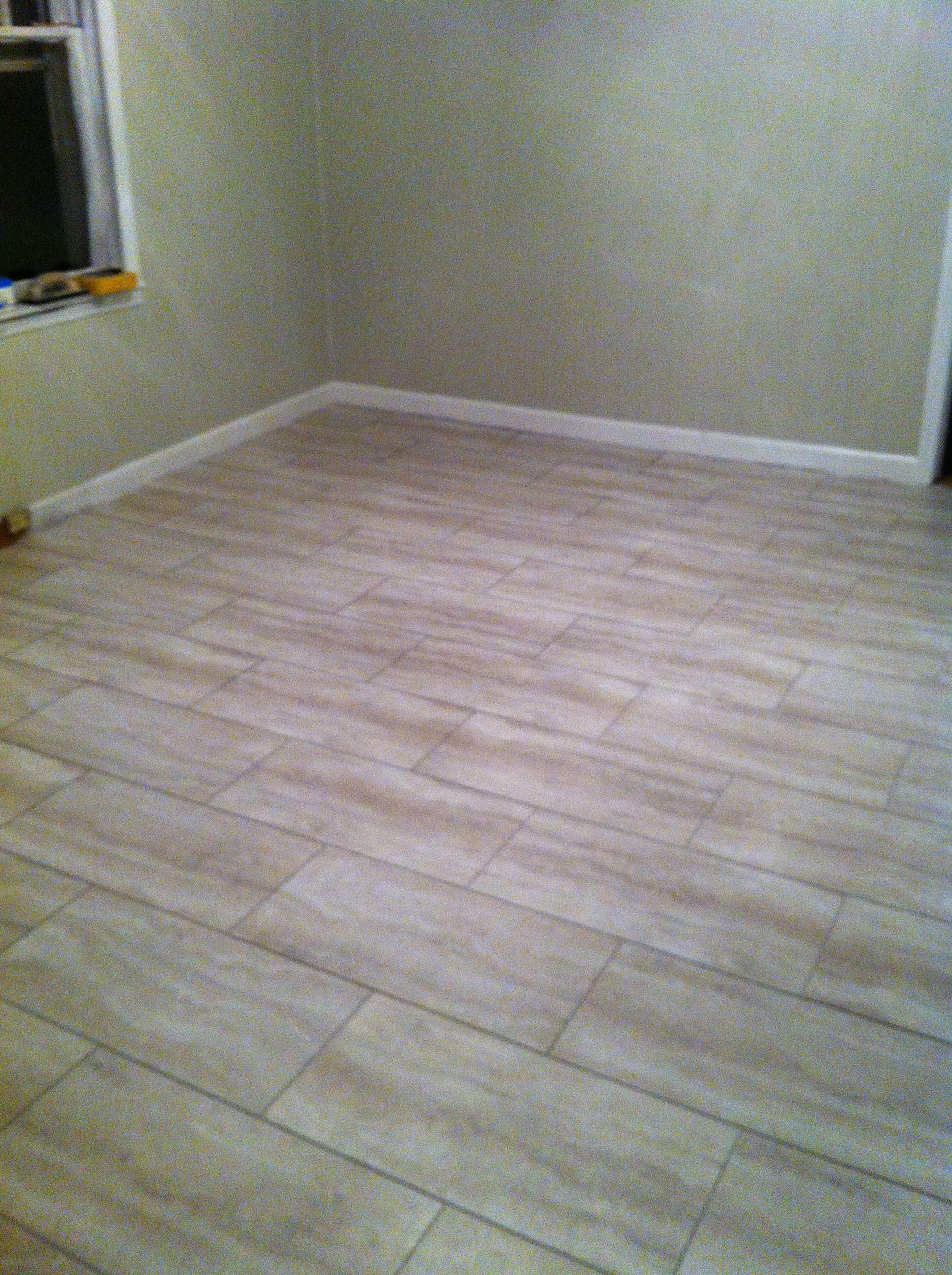 New flooring project using groutable luxury vinyl tiles