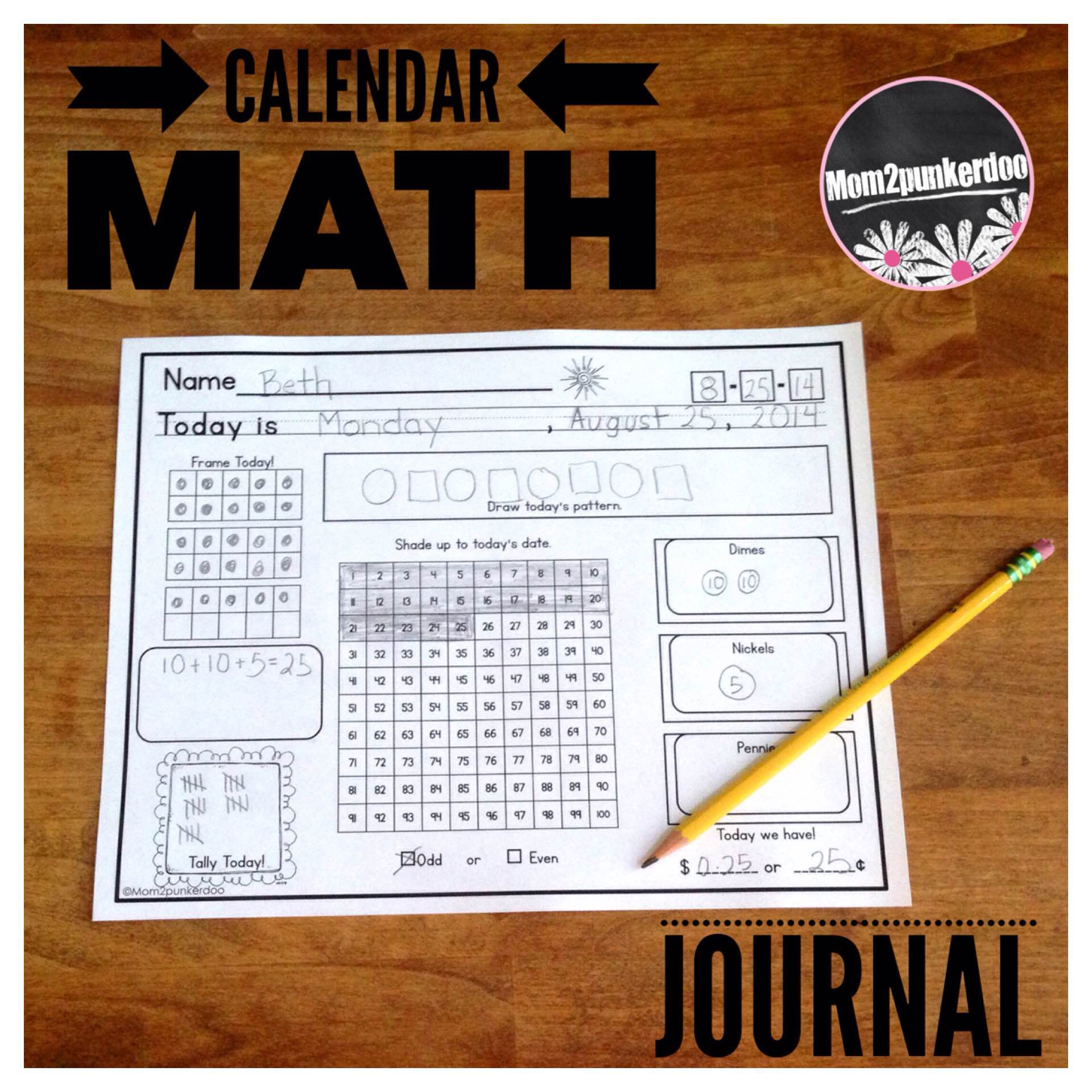 Calendar Math Journal Everyday Counts Aligned