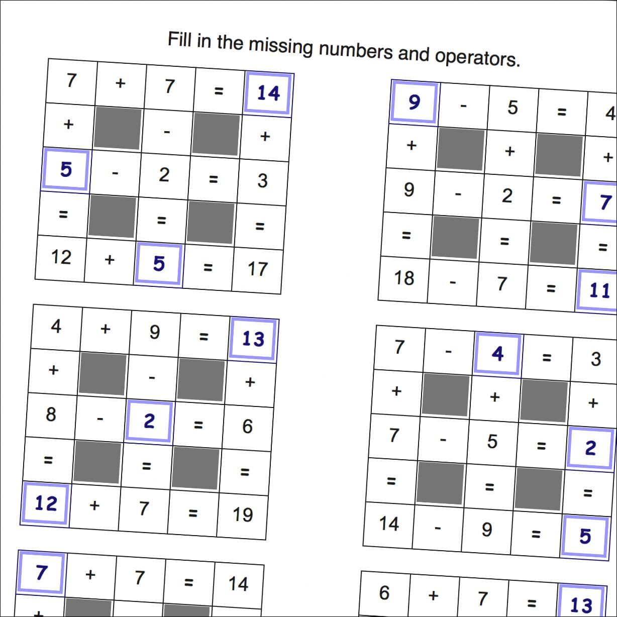 Math Worksheets Addition And Subtraction Grid Puzzles With Missing Values And Negatives