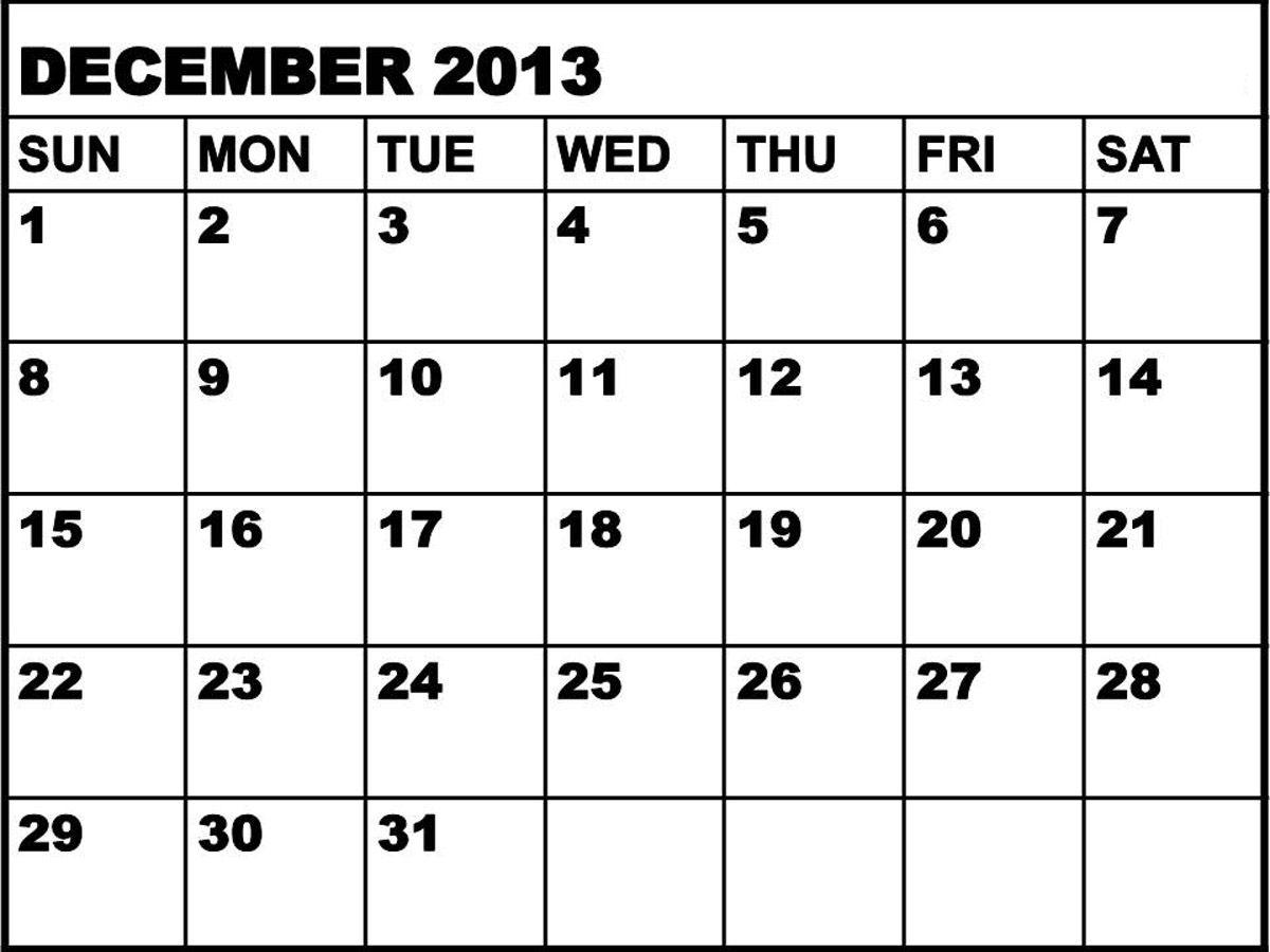 Large January December Printable Calendar