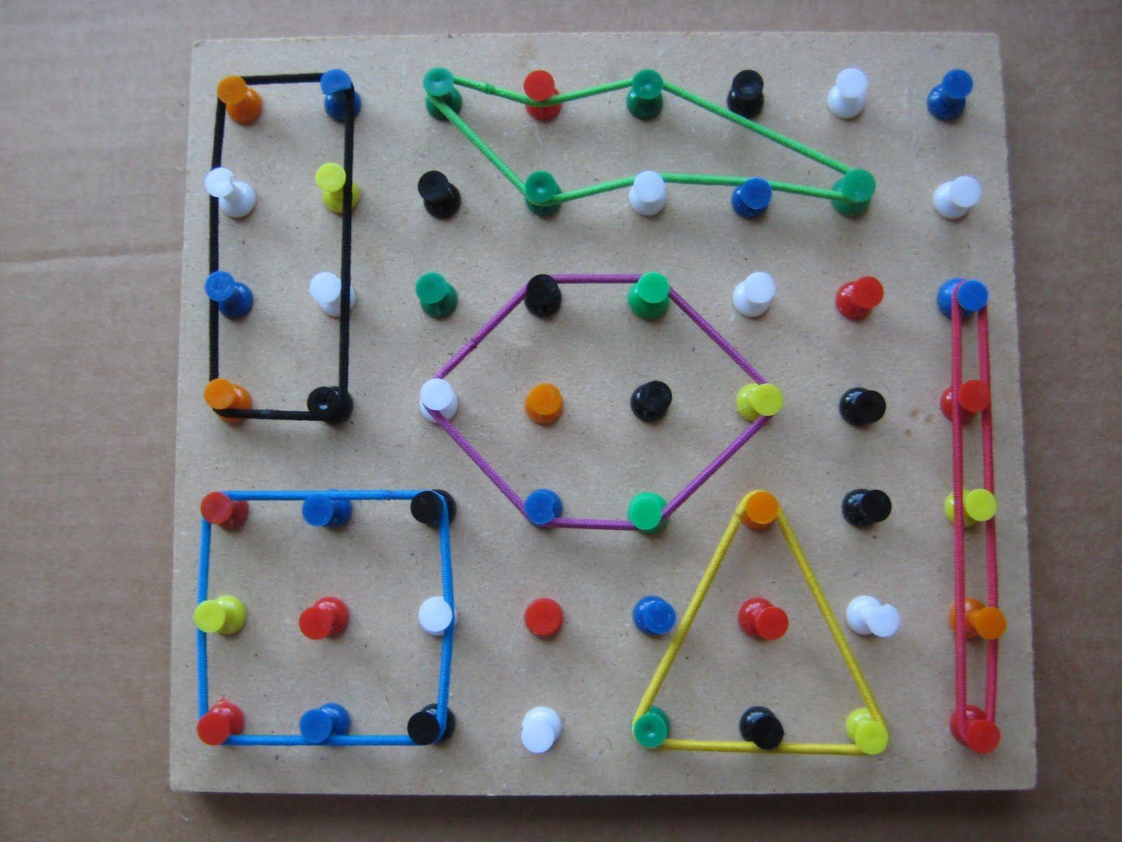 Make A Geo Board With Thumb Tacks And Hair Bands Elementary