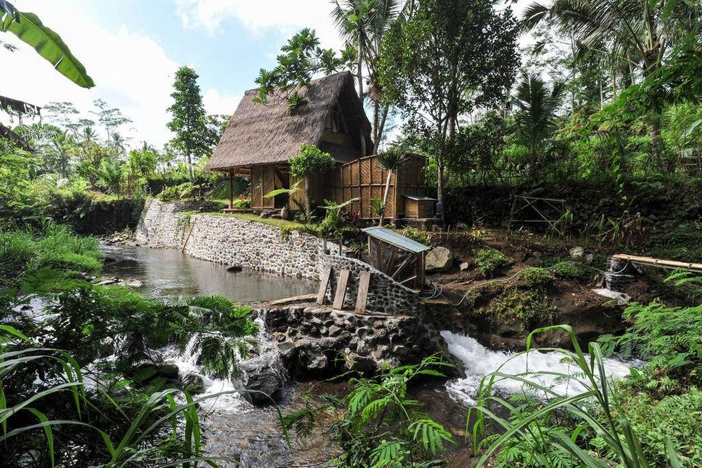 An eco bamboo house in Bali, Indonesia, nestled in the