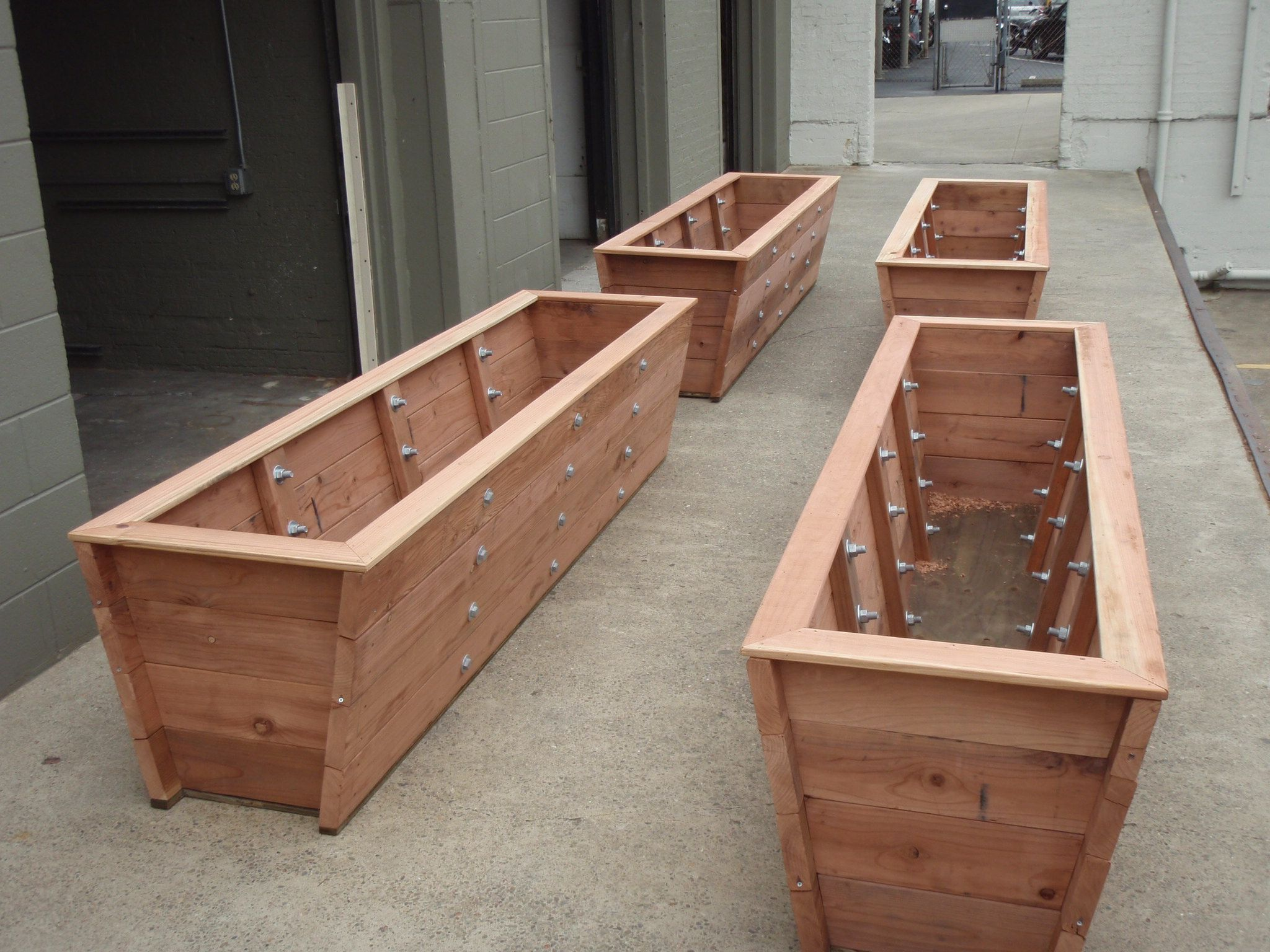 Large redwood planter boxes made for tall bamboo. Trick