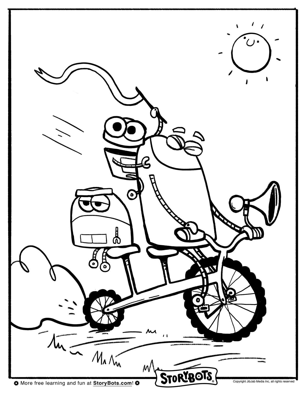 Bike Bot Coloring Sheet