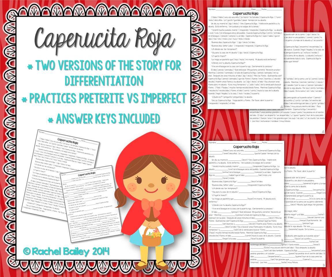 Preterite Imperfect Story Worksheet Caperucita Roja Red