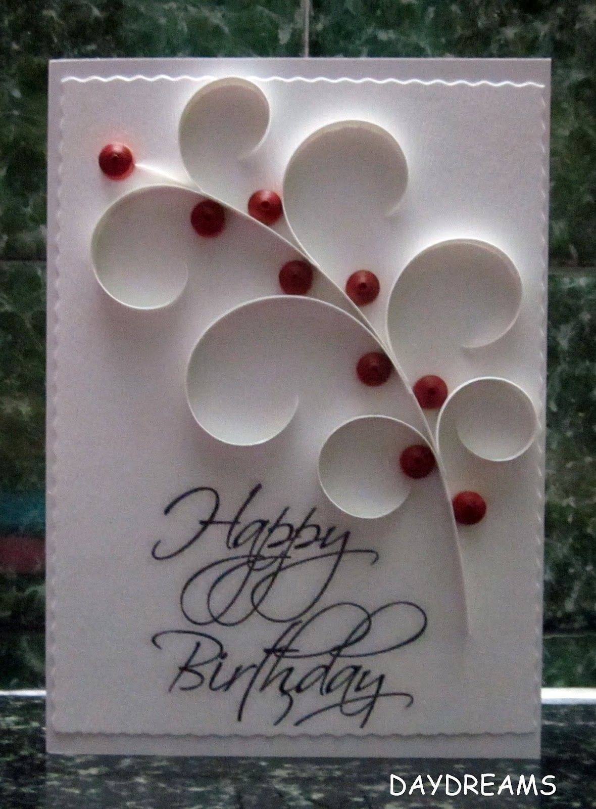 simple red and white card Quilling Pinterest
