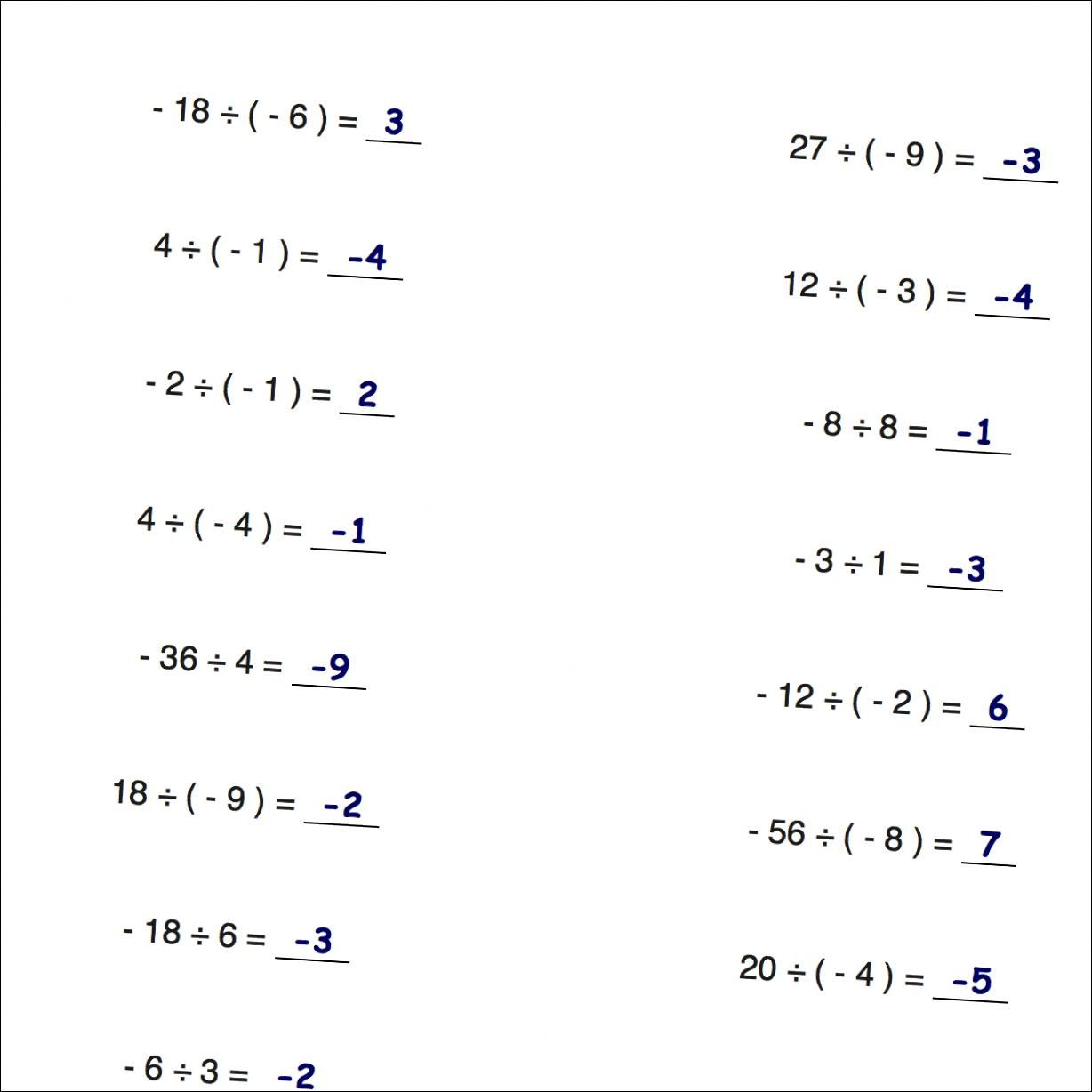 Worksheets With Simple Problems That Introduce Negative Numbers Operations For Multiplication