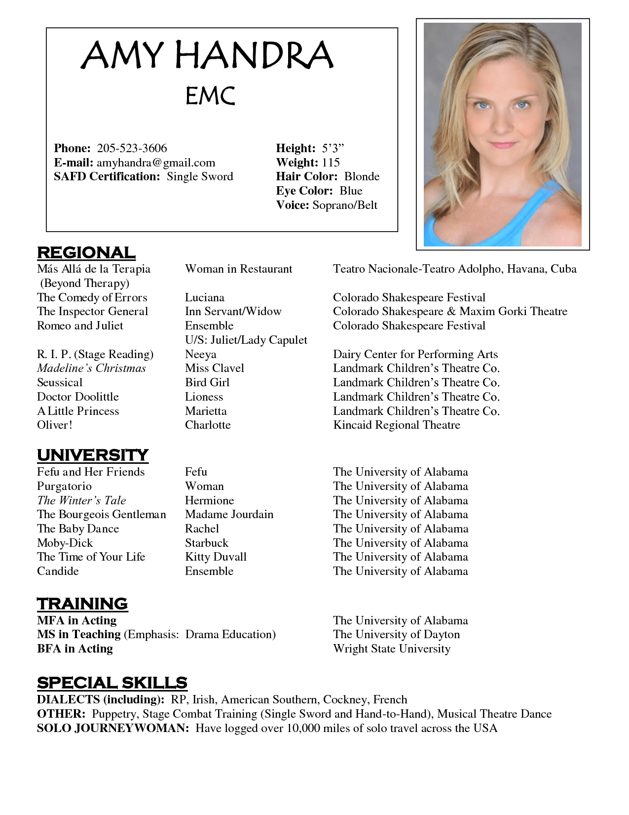 acting resume templet free