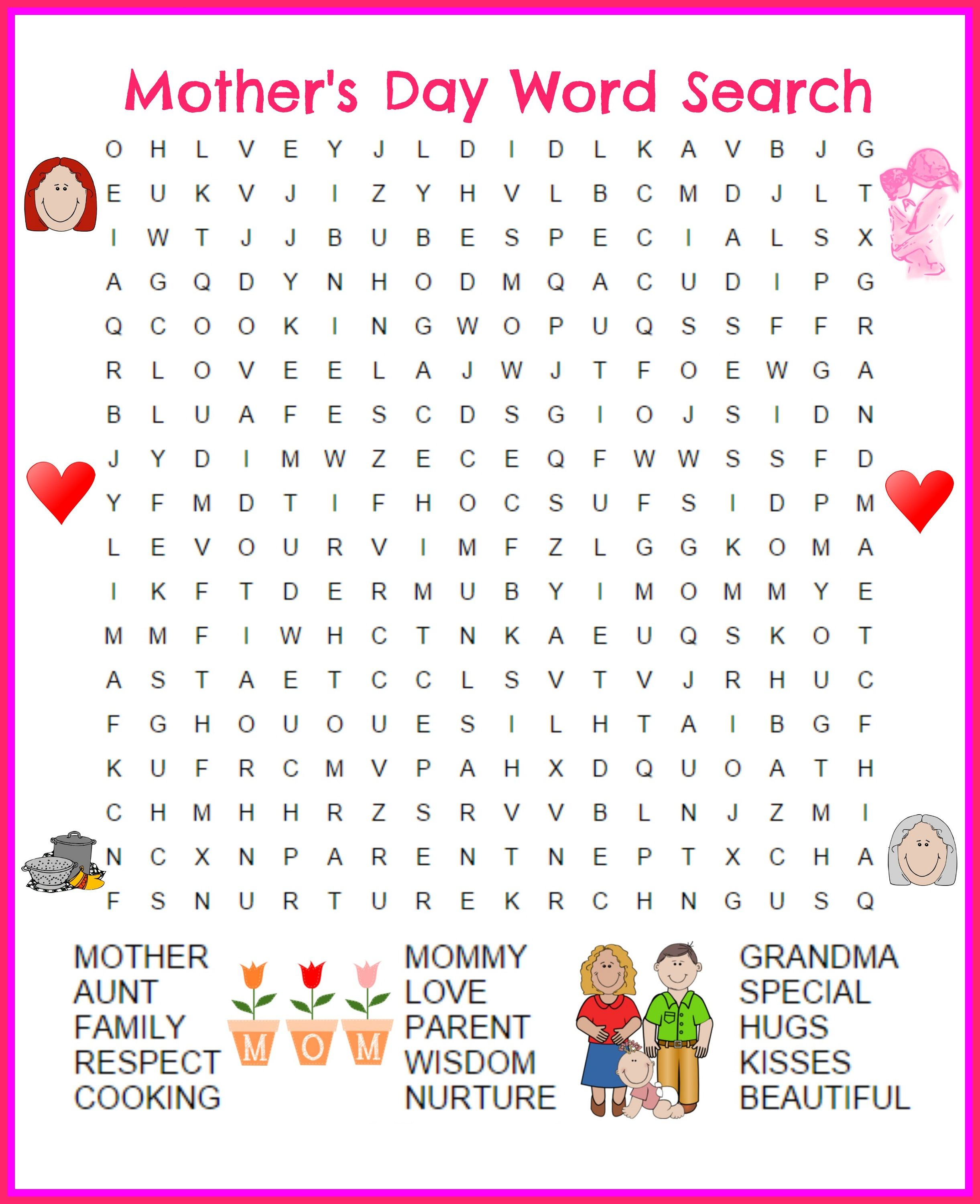 Mother S Day Word Search Printable