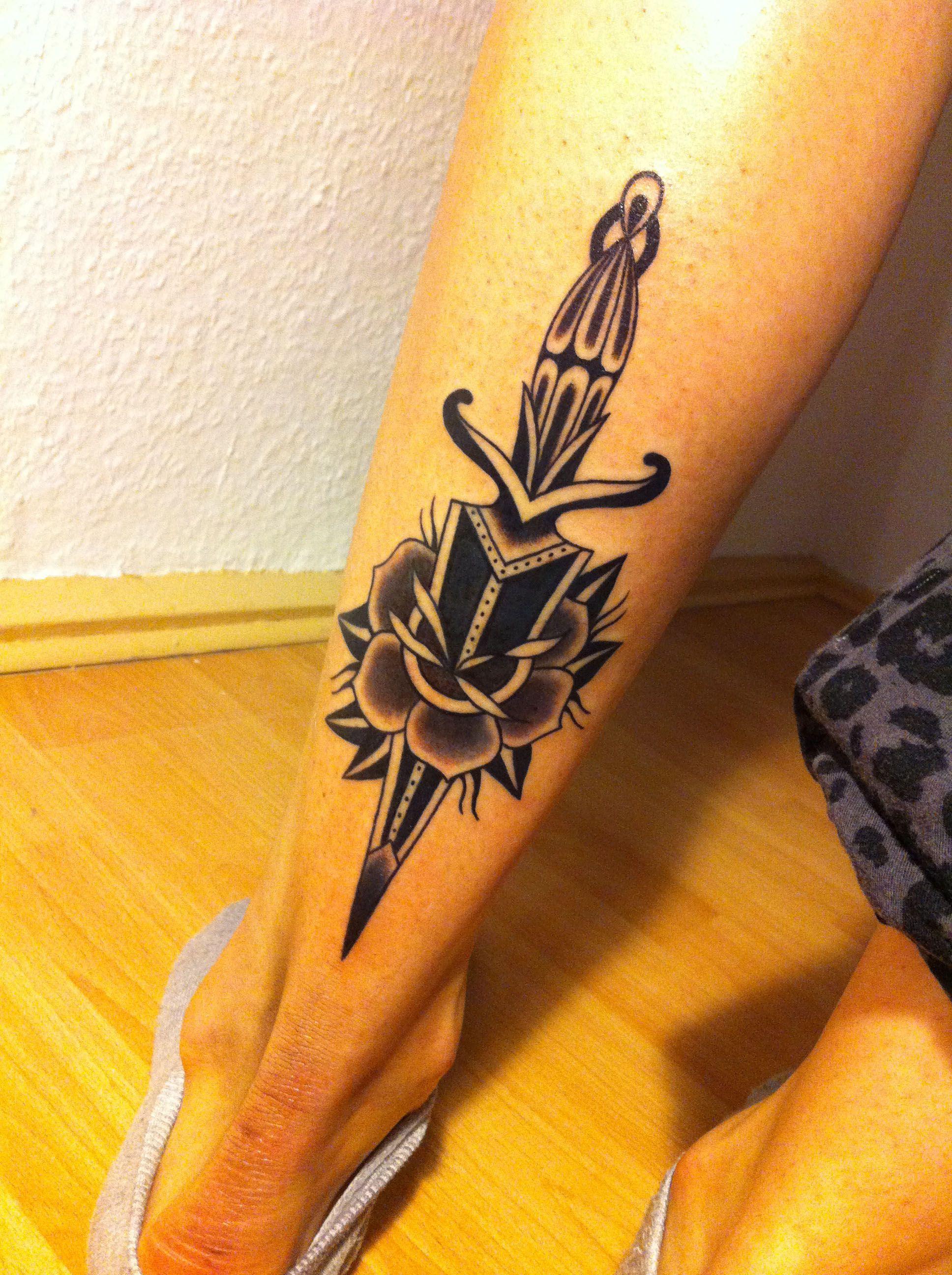 dagger & rose tattoo by sonka nawojka my work