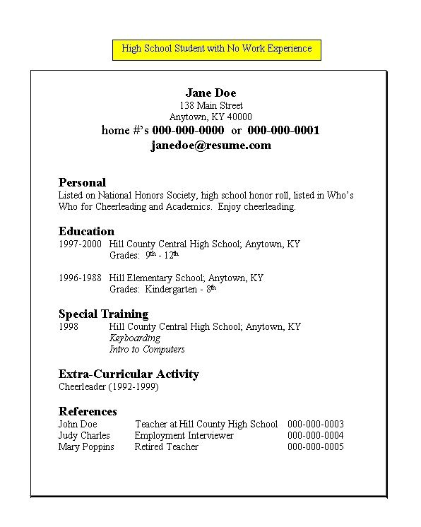 resume resume templates and high school students on pinterest