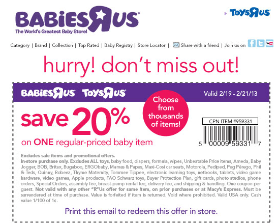20 off a single item at Babies R Us & Toys R Us coupon