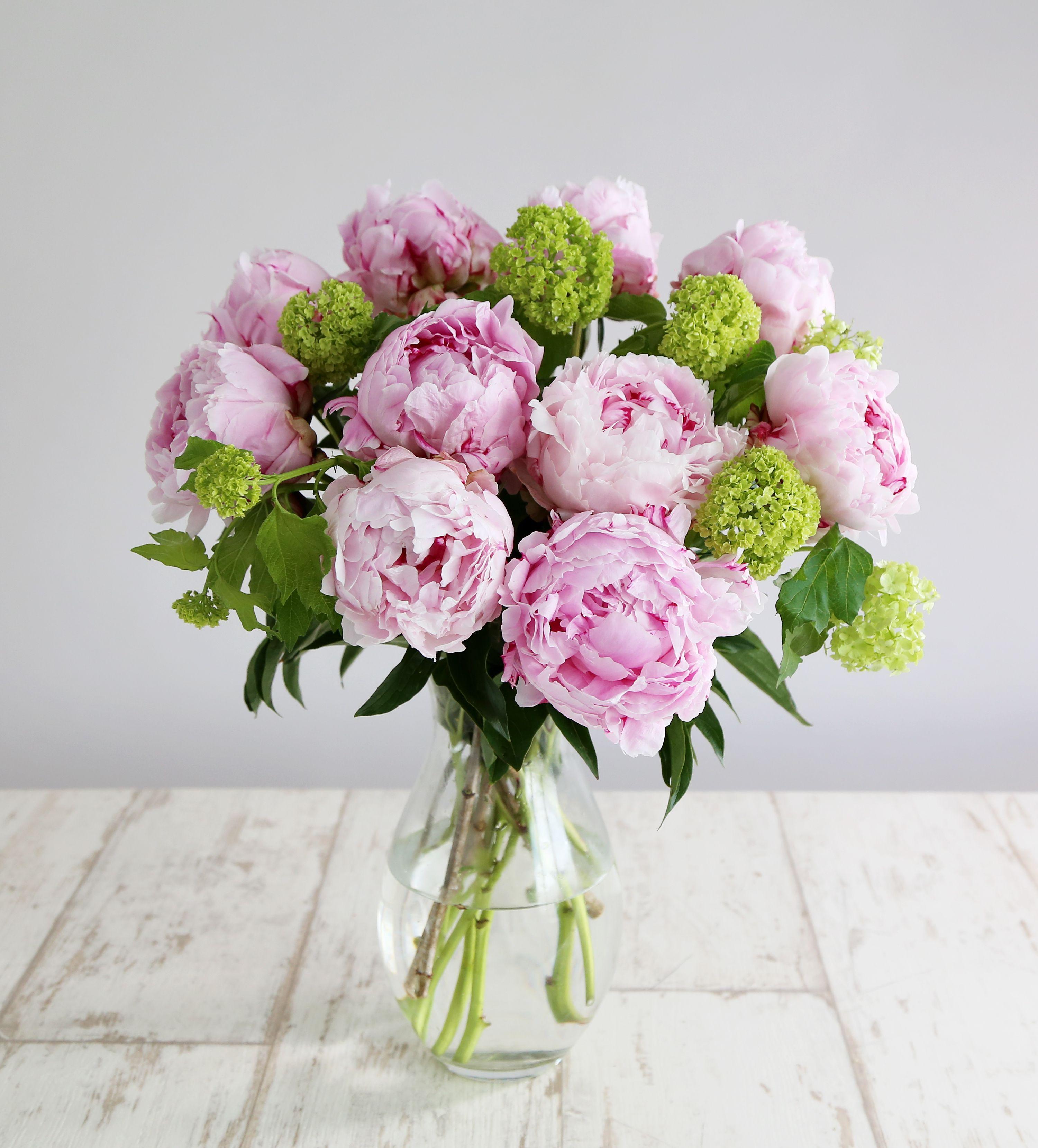 Peony Bouquet • 10 Pink peonies • 3 Viburnum opulus