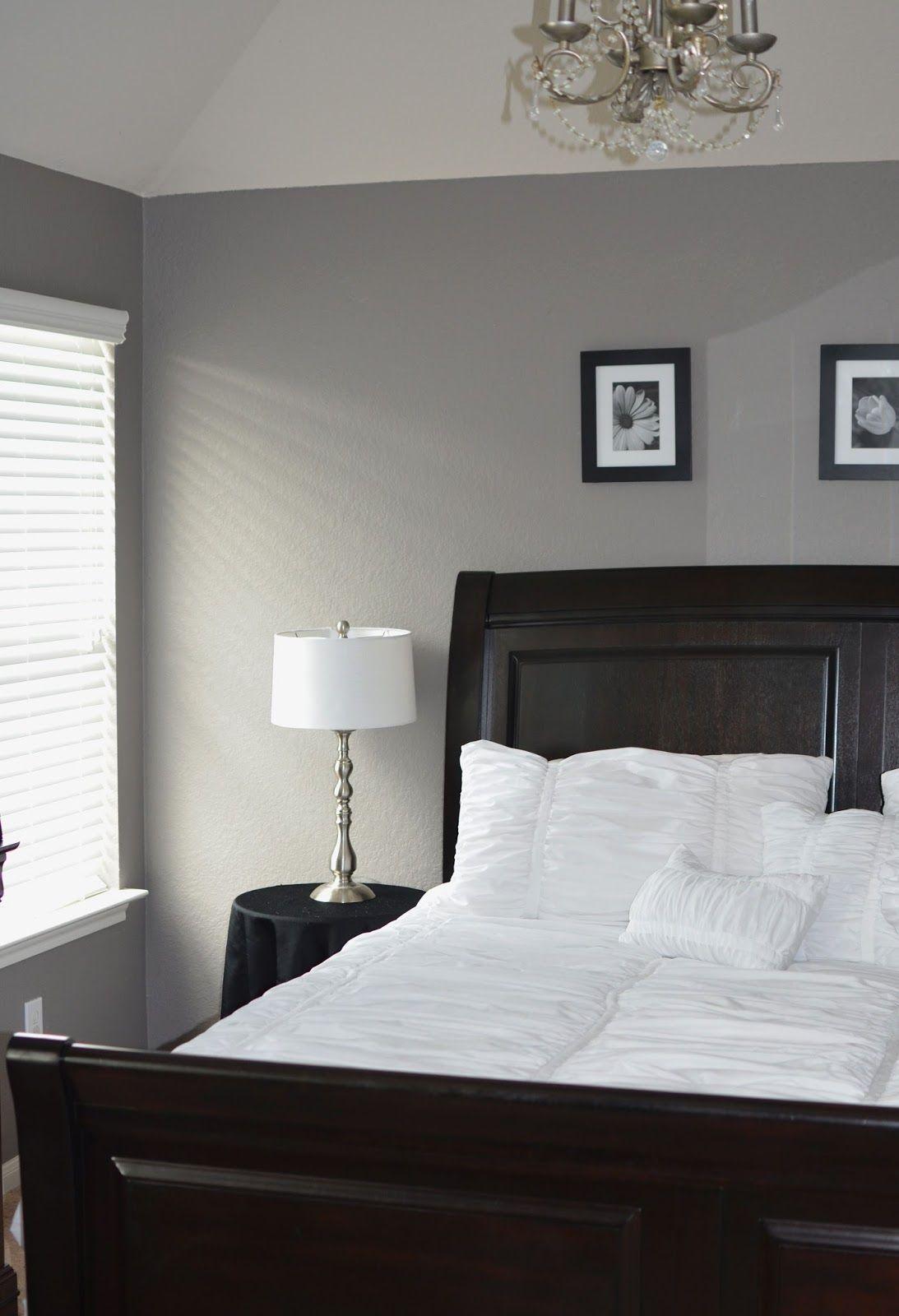 Grey Master bedroom. Behr Creek Bend. Grey White