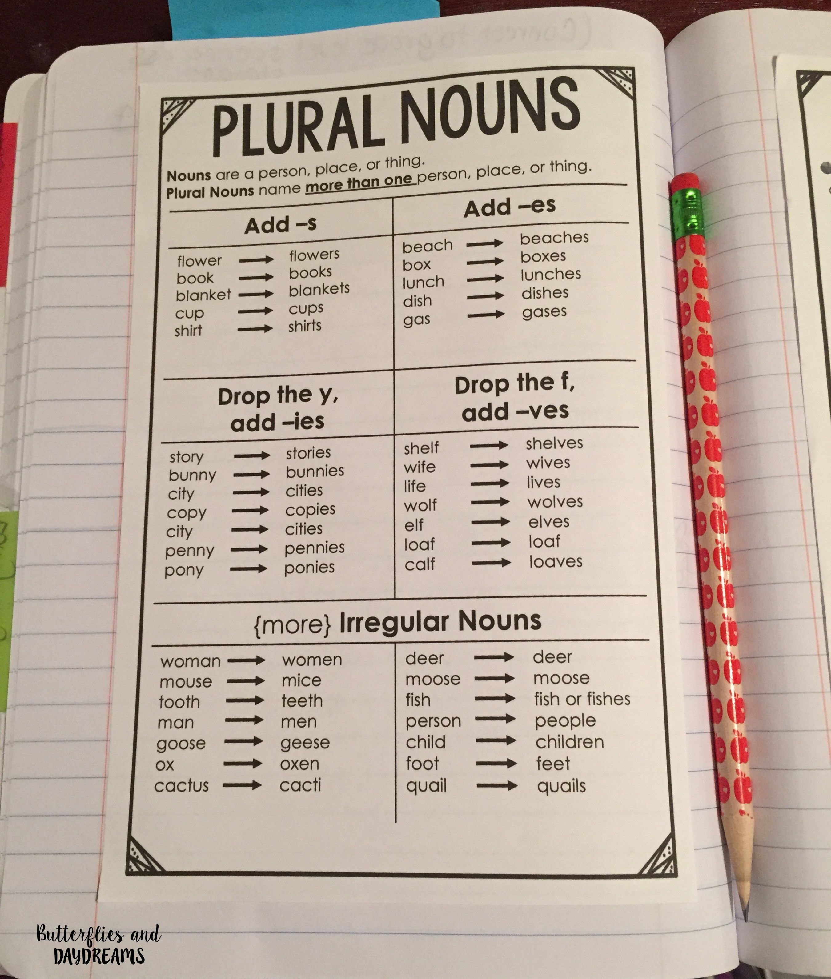 Grammar Amp Vocabulary Notebook Charts