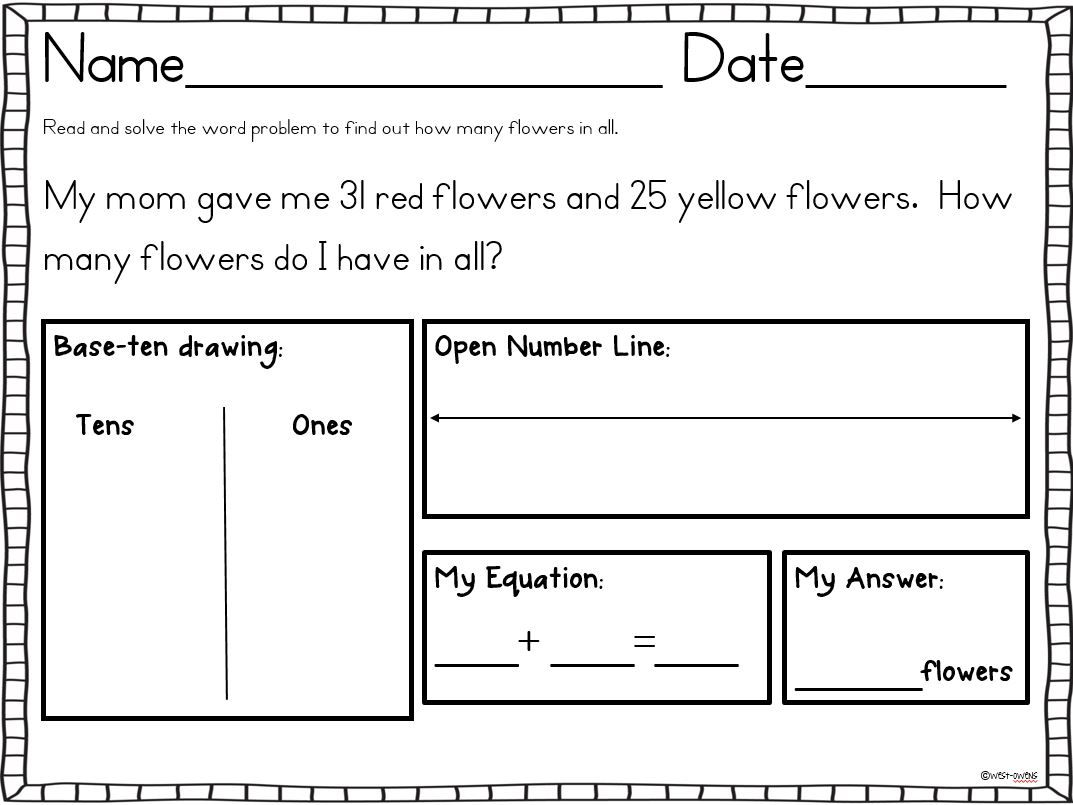 Common Core Addition Amp Subtraction Word Problems Sums To