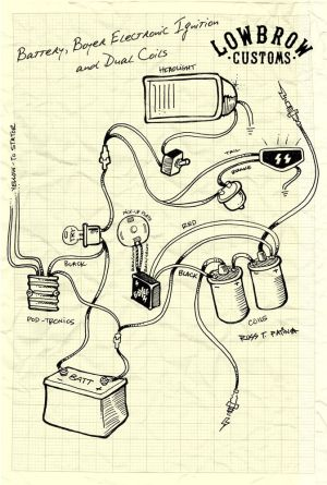 LOWBROW CUSTOMS Motorcycle wiring diagram  boyer, electronic ignition and dual coils