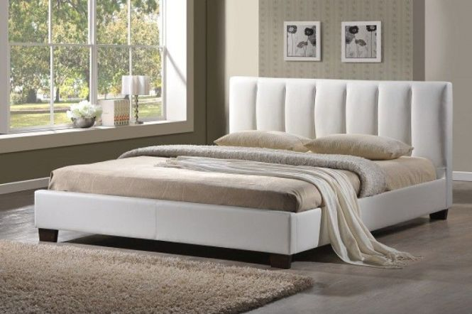 Luxurious Looking Faux Leather Bed Frame In And Stylish White Low Foot End Similar To The Perth