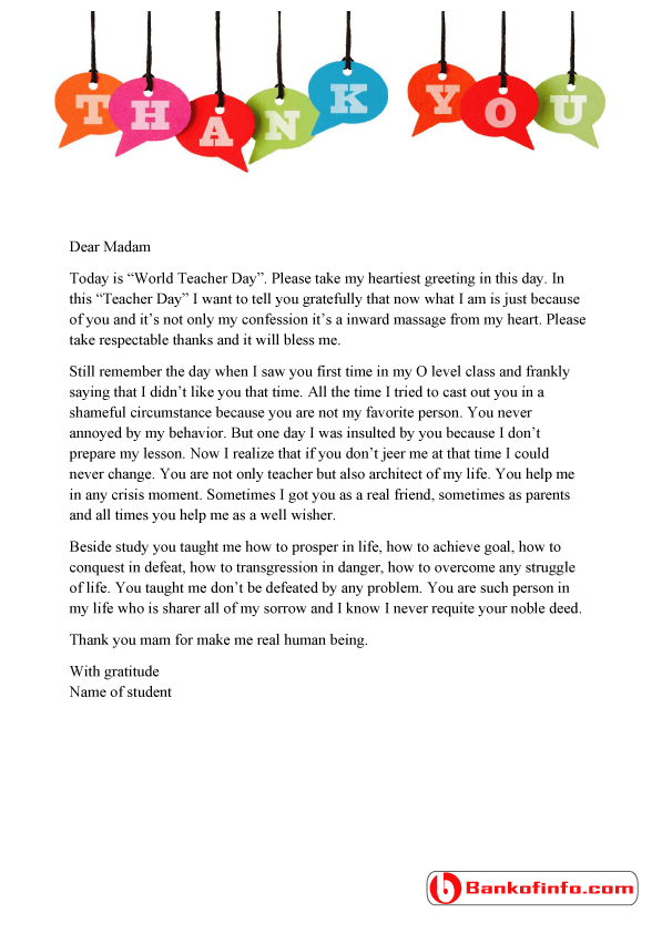 A sample thank you letter to teacher from student for the