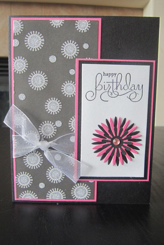 Happy Birthday Glitter handmade greeting Card. 2.00, via