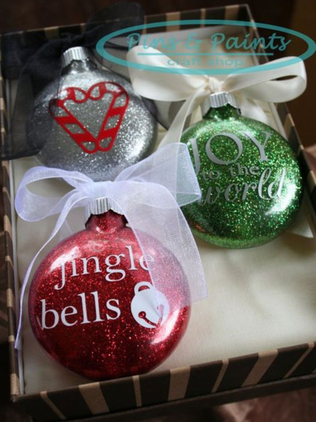 DIY glitter ornaments with vinyl decals. All Things