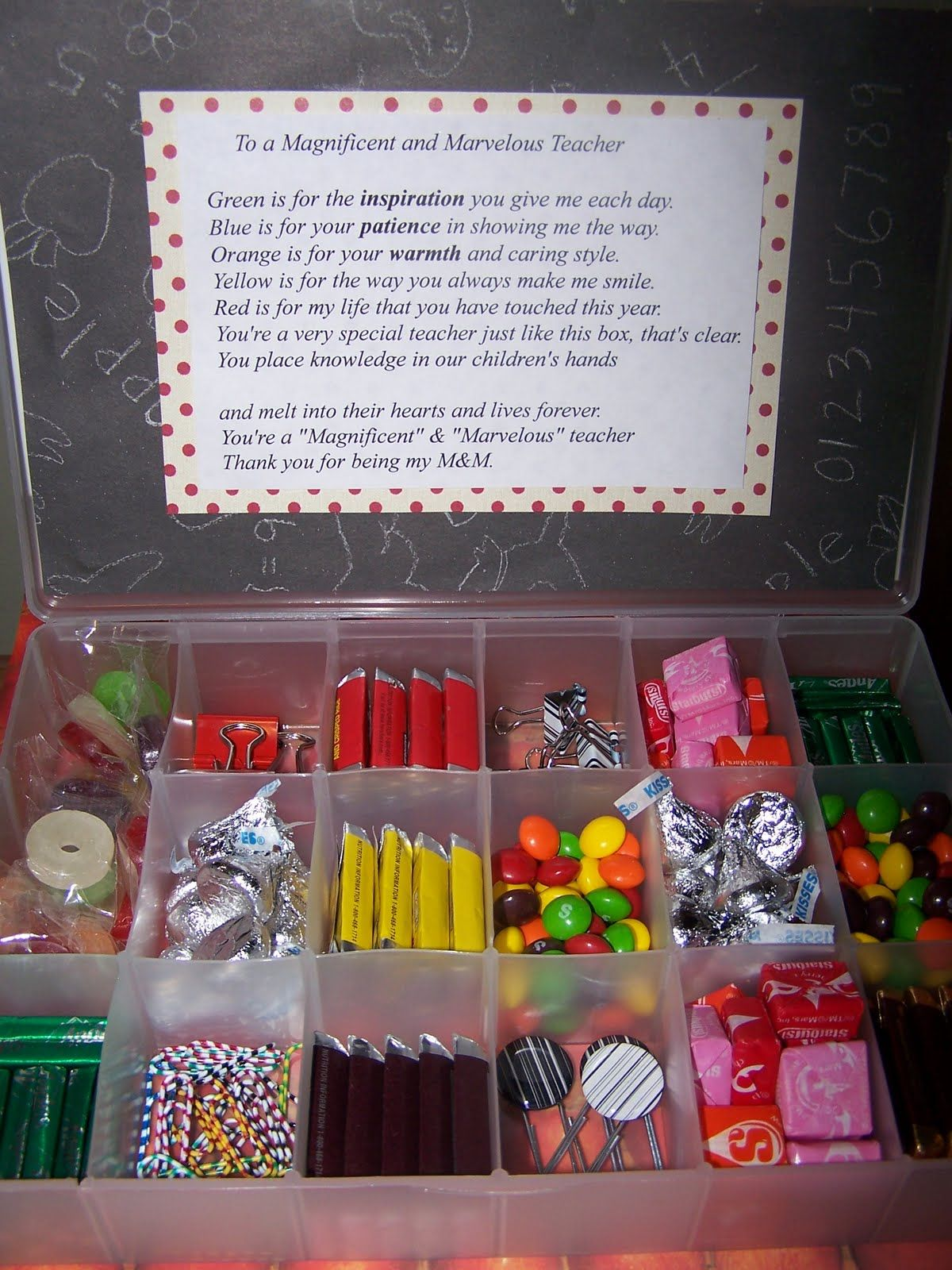Teacher gift candy box! Must remember this for any candy