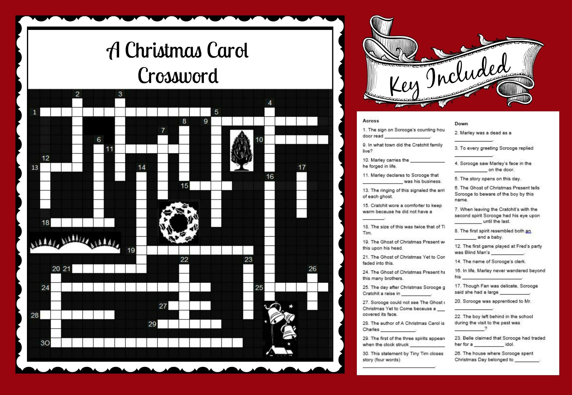 A Christmas Carol Crossword Fun Activity To Use With Story