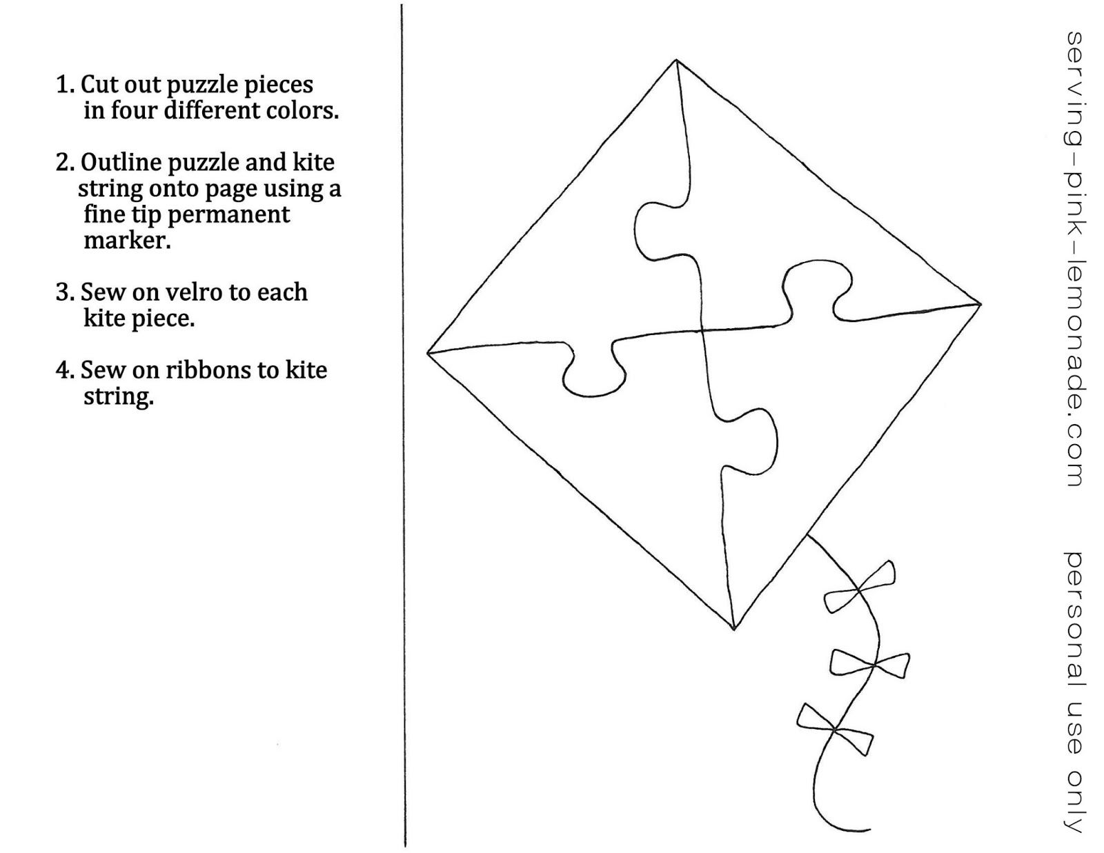 Free Quiet Book Templates Love The Kite Puzzle Flower