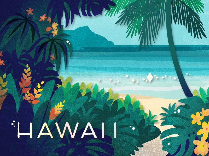 Hawaii card printing illustrations and animation