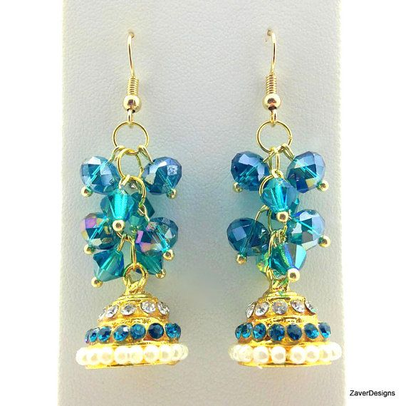 Teal Chandelier Earrings Cer Indian Ethnic Dome Bollywood Earring