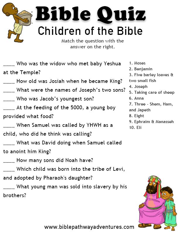 Printable Bible Quiz Children of the Bible Bible quiz