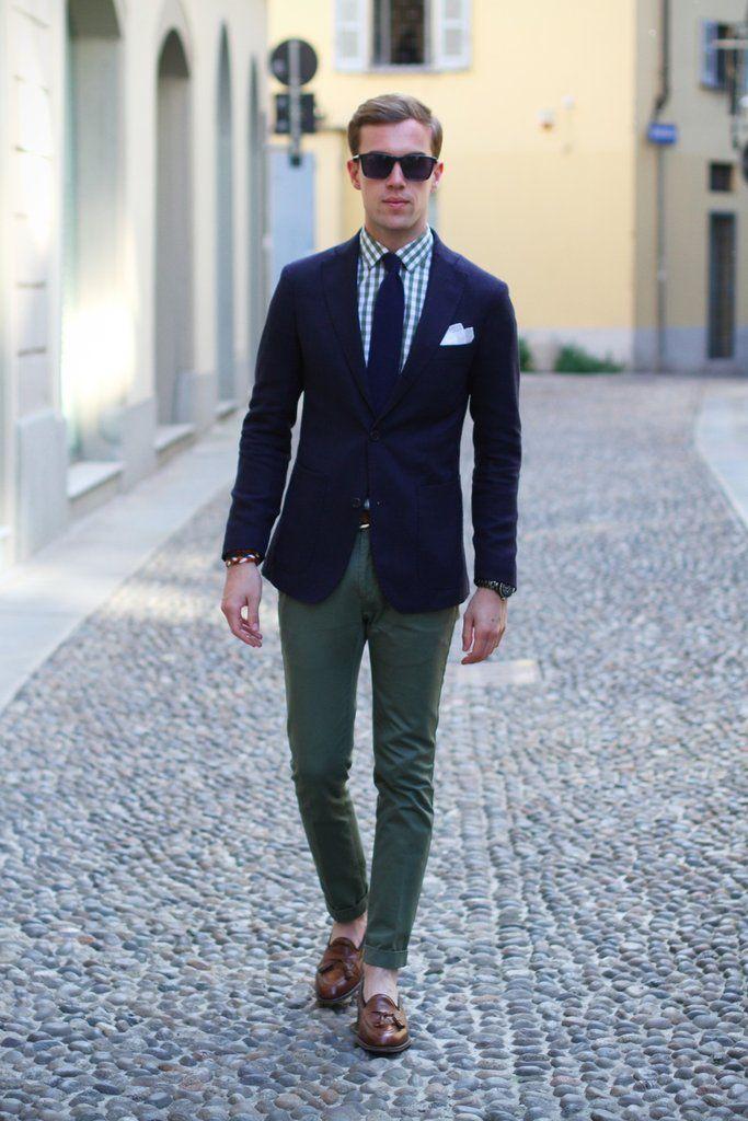 Navy blazer, olive pants Fashion Pinterest Olive