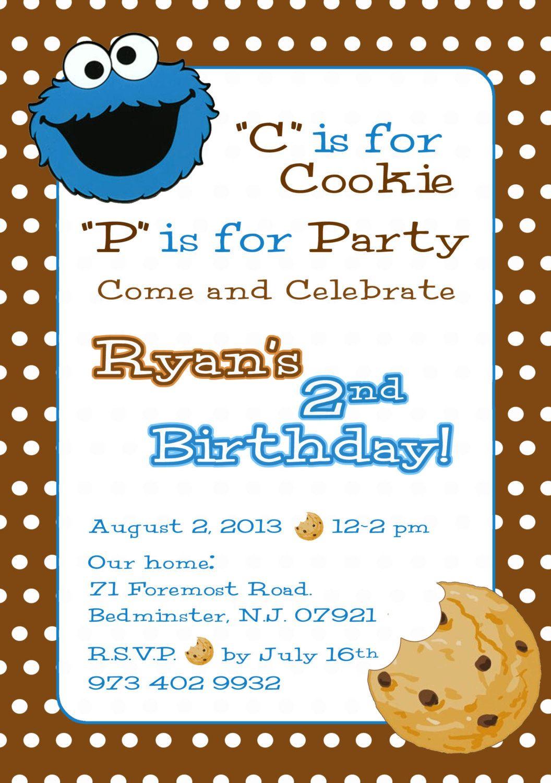 Handmade Cookie Monster Invitations