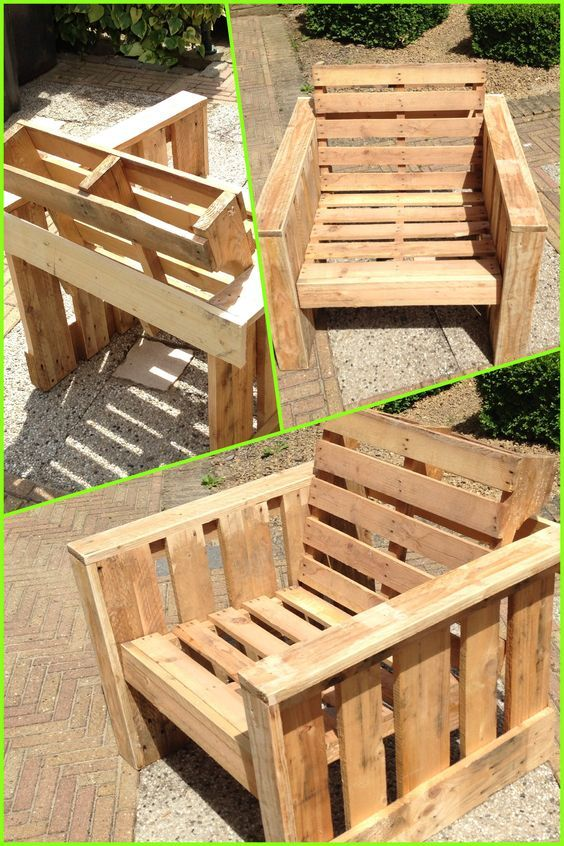 Self made chair, made completely from old pallets. Recycle