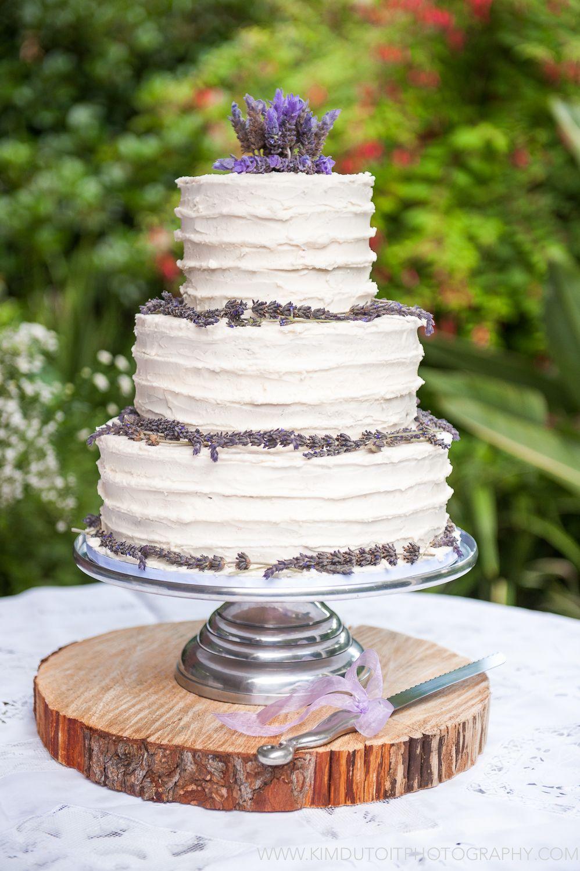 Rustic lavender wedding cake Our Lavender Wedding