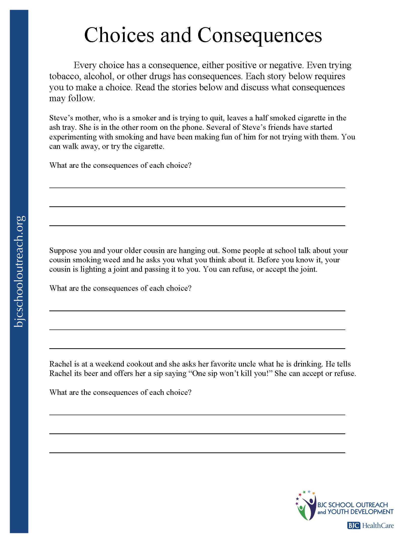 Making Good Choices Worksheets