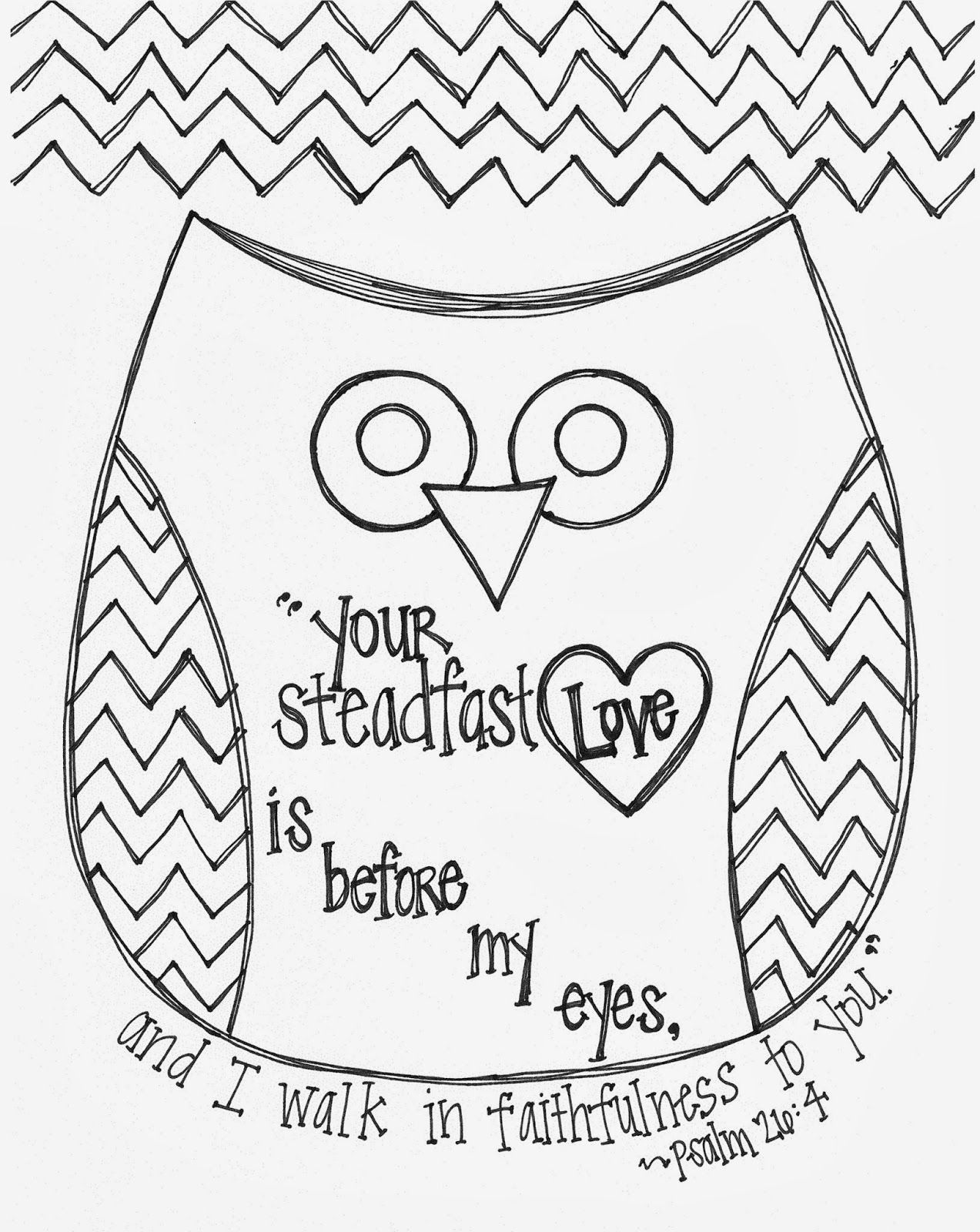 Free Valentine S Day Bible Verse Owl Coloring Page