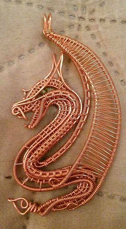 Wire wrapped dragon pendant Copper, Sliding knot and Olives