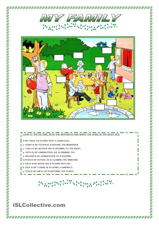 MY FAMILY Schoolstuff Pinterest English, Activities
