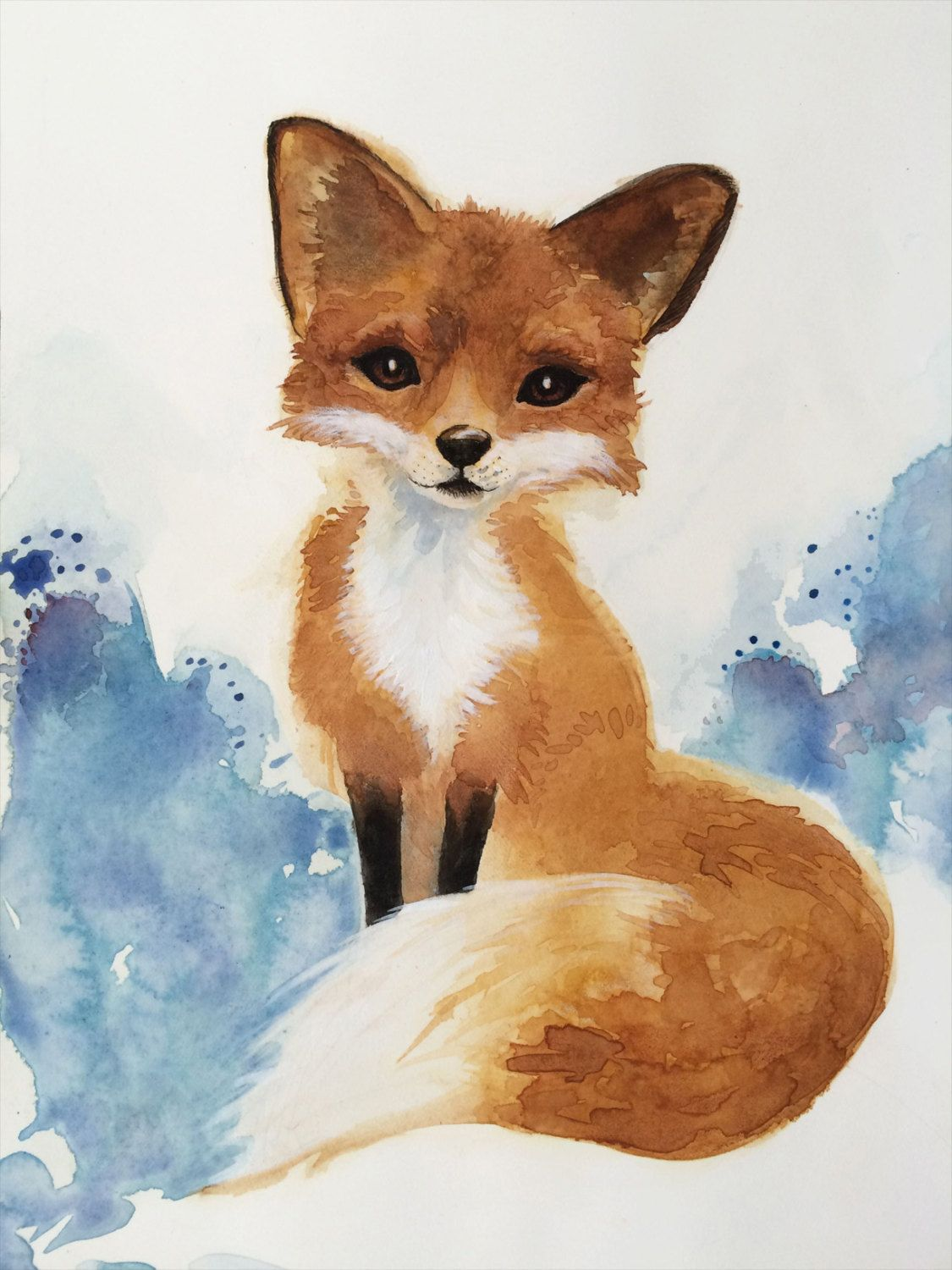 Watercolor Fox Art Woodland Painting by