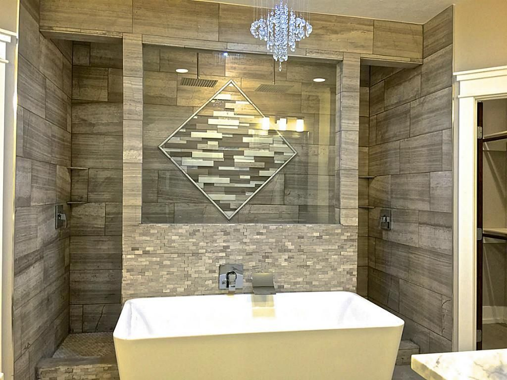 Walk Behind Open Shower With Free Standing Tub Perfect
