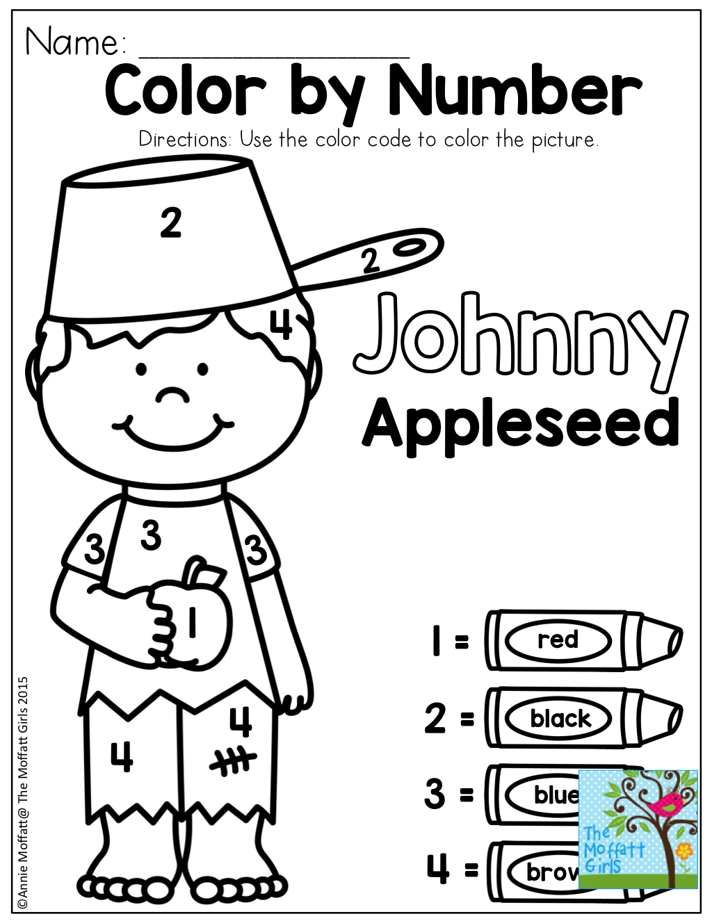 Color By Number With Johnny Appleseed Tons Of Fun