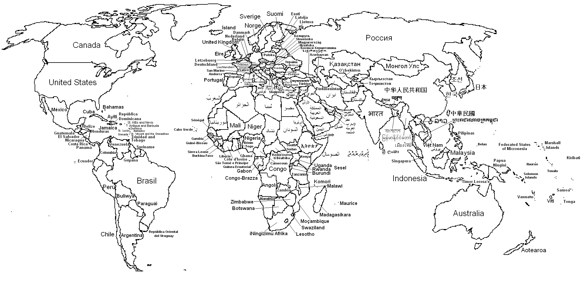 World Map Outline With Countries Labeled