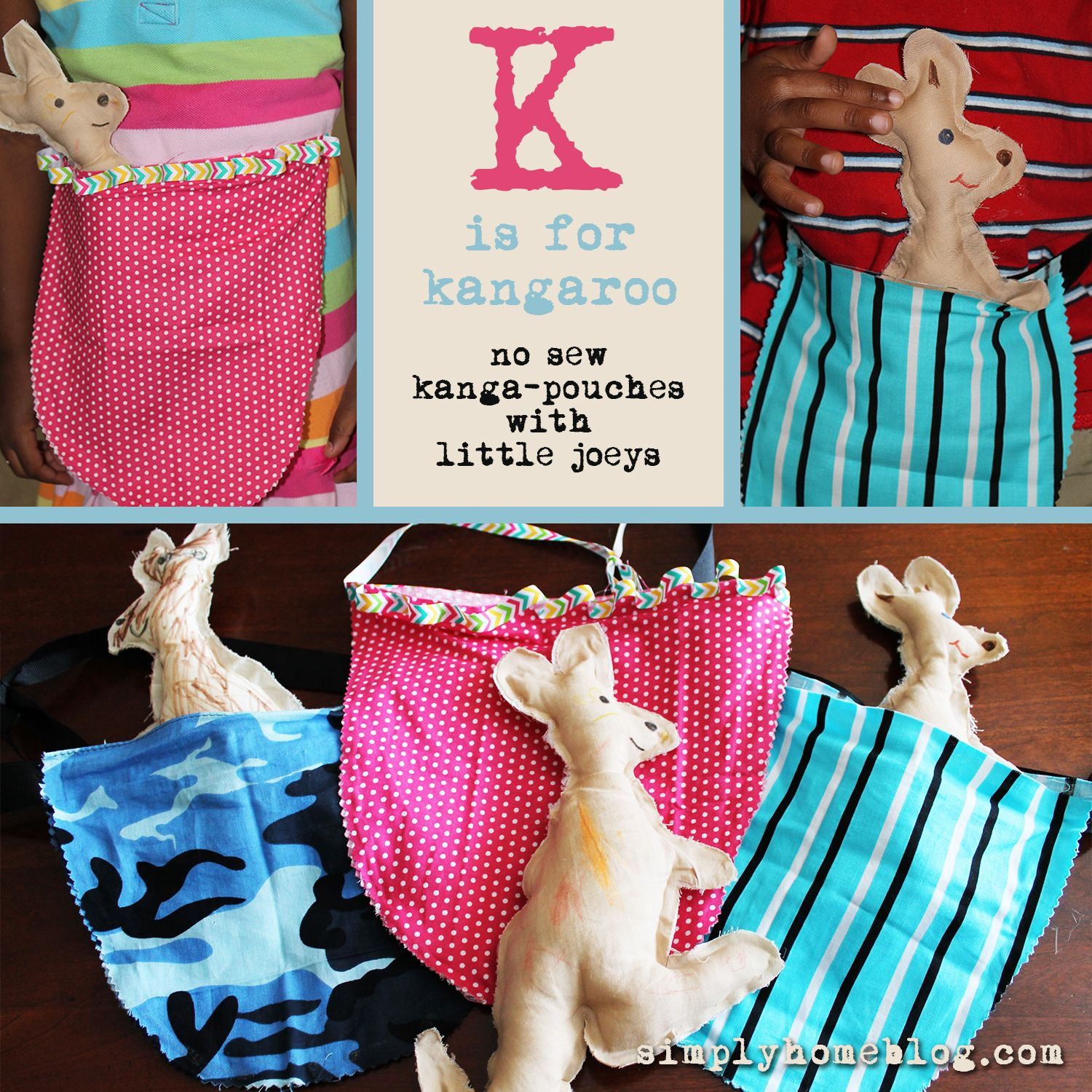 K Is For Kangaroo No Sew Pouches With Little Joeys