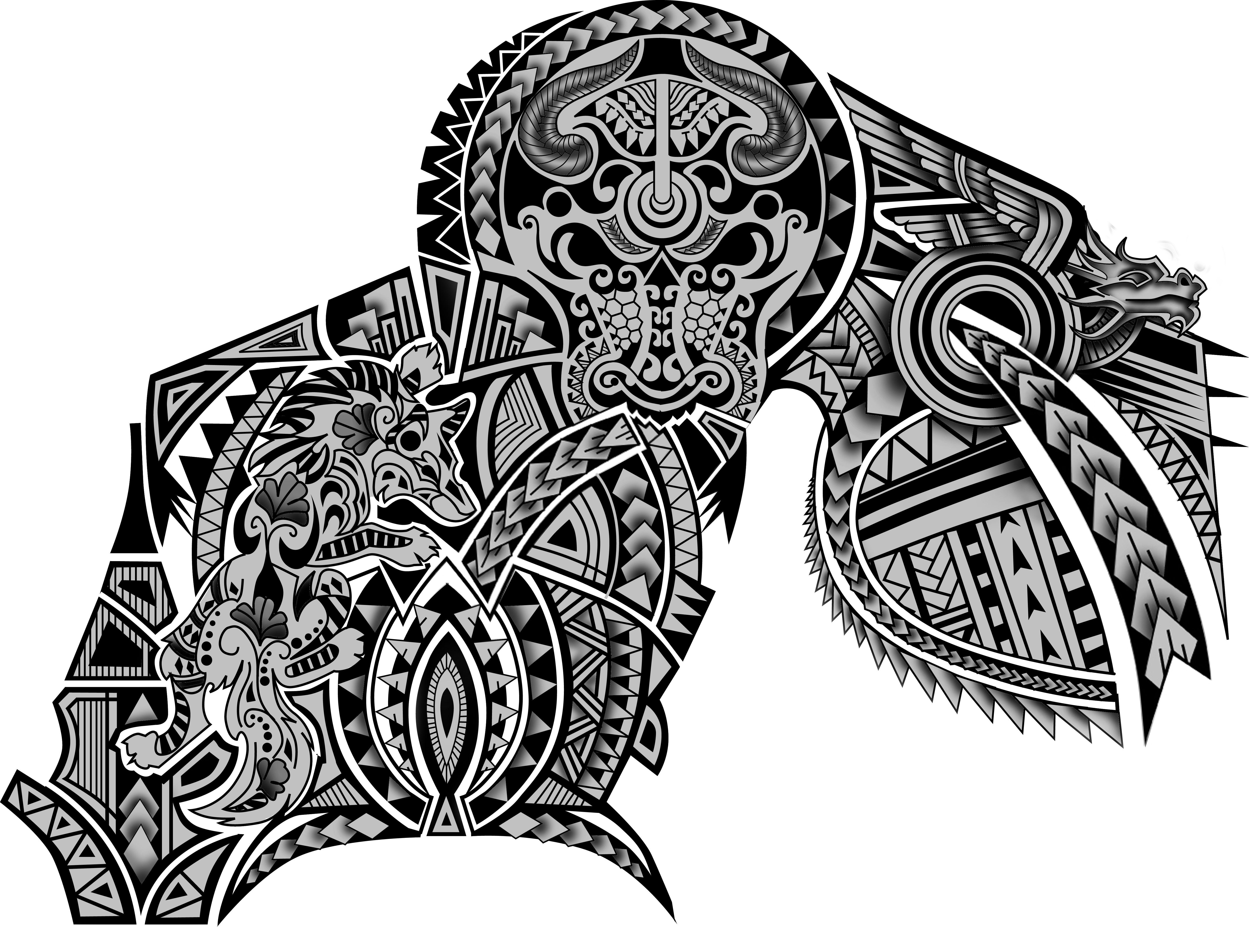 100 Polynesian Maori Tribal Half Sleeve Chest Wolf Dragon