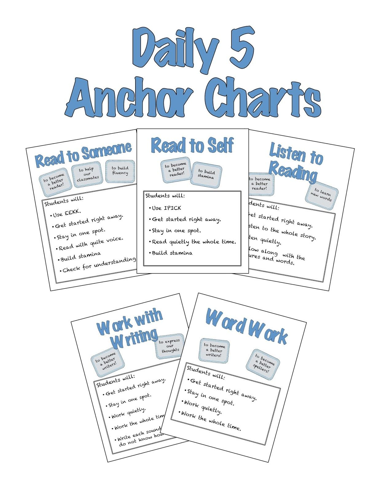 Daily Five Anchor Charts For Read To Self Read To Someone