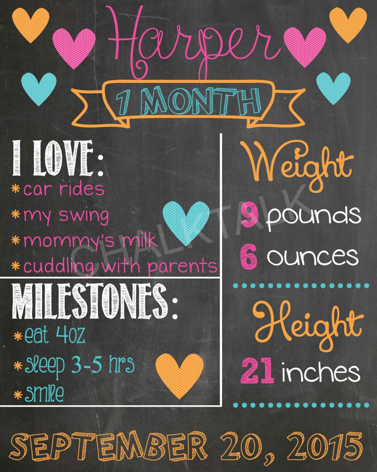 Baby S First Year Monthly Milestone Chalkboard Printables