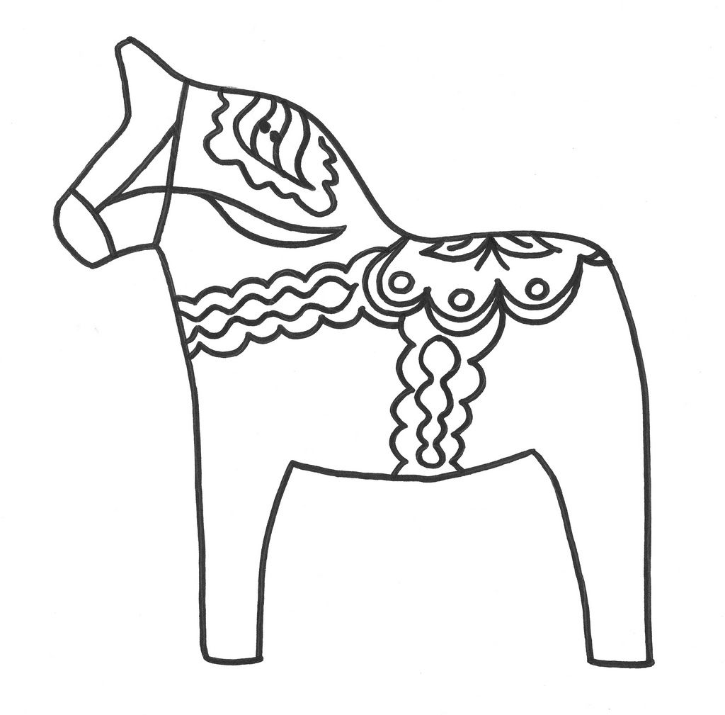 Swedish Dala Horse Coloring Picture