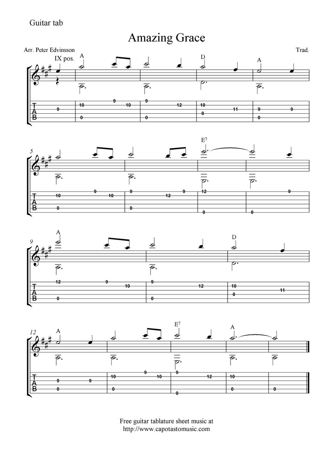 Amazing Grace Saxophone Duet Sheet Music