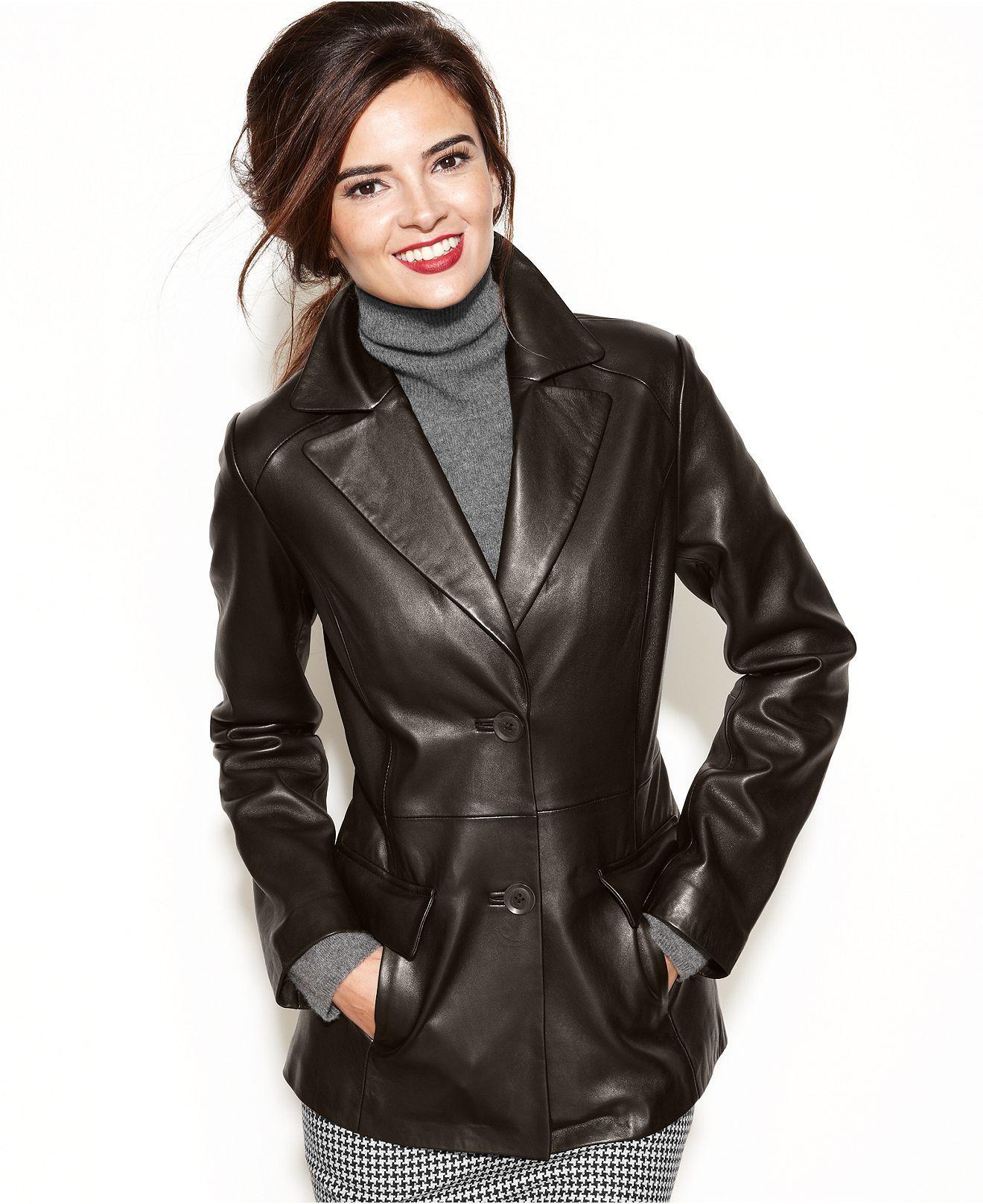 Jones New York ButtonFront Leather Blazer Jackets